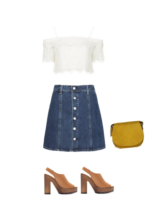 Alexa Chung for AG Button-Front Denim Skirt, $178, at Anthropologie; Topshop Lace Bardot Crop Top, $50, at Topshop; Zara Leather Sandals with Track Sole, $139, at Zara; Angela and Roi Morning Mustard Cross-body, $95, at angelaroi.com