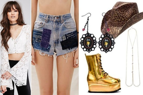 Source: Forever 21 Lace Bell Sleeve Top in Cream, $20, at Forever 21; Urban Renewal Recycled Batik Patch Short, $89, at Urban Outfitters; CoutureCreations Vintage Barbie Earrings, $16, at etsy.com; Peter Grimm Rowdy Drifter Cowboy Hat in Leopard, $48, at langstons.com; Guess Gold-Tone Body Chain with Rhinestone Fireballs, $40, at Guess; Moonchild Holo Boots in Gold, $95, at kerold.com