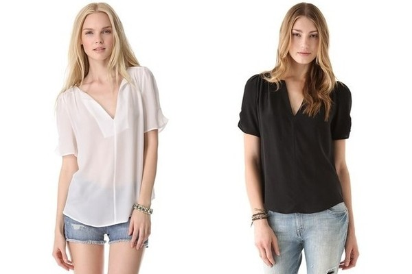 Source: Joie Amone Silk Blouse in Porcelain and Caviar, $188 each, at shopbop.com