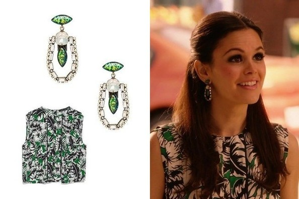 Rachel Bilson's Tropical-Print Top and Opal Earrings on 'Hart of Dixie'