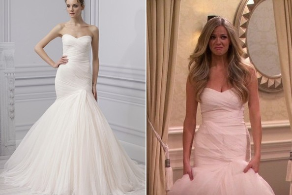 brooklyn decker 39 s wedding gown on 39 friends with better lives 39 tv fashion roundup may 20 2014. Black Bedroom Furniture Sets. Home Design Ideas