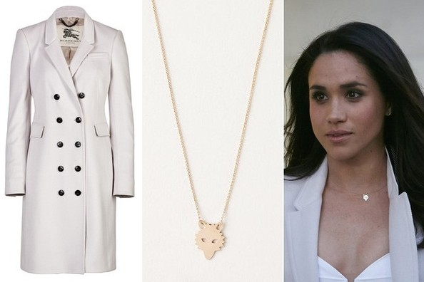 Meghan Markle S White Trench Coat And Gold Charm Necklace