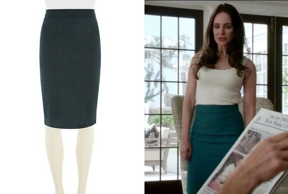 Madeleine Stowe's Teal Pencil Skirt on 'Revenge'