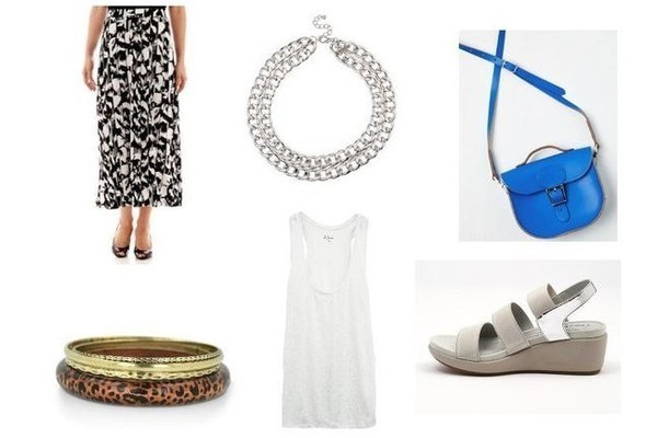 Black Label by Evan-Picone Print Knit Maxi Skirt, $50, at jcpenney.com; Prima donna Charlie Chain Collar Necklace in Silver, $22, at shopprimadonna.com; Brit-Stitch Have Style, Will Travel Bag in Cobalt $90, at modcloth.com; BareTraps Easley Sandal in Gray, $30, at footwearunlimited.com; Rails Poppy Tank, $68, at railsclothing.com; SuperJeweler Animal Print and Brass Bangles, $10, at superjeweler.com