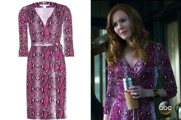 Darby Stanchfield's Pink Snake Print Wrap Dress on 'Scandal'