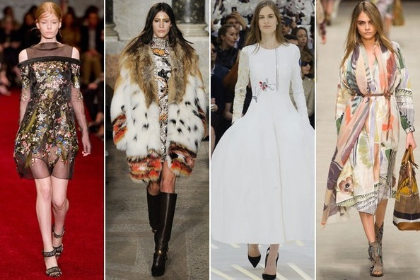 Dark Romance at Erdem, Fur at Emilio Pucci, Winter White at Christian Dior, Watercolor Florals at Burberry Prorsum