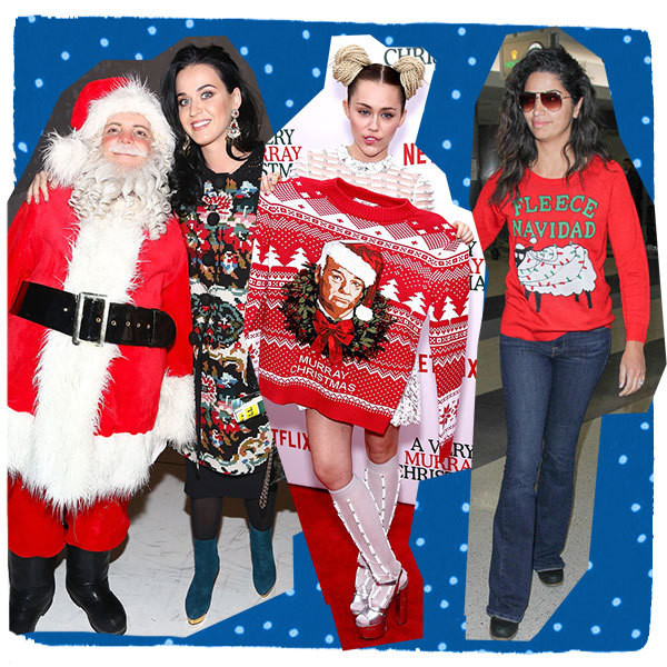 The best celebrity ugly christmas sweater moments for Over the top ugly christmas sweaters