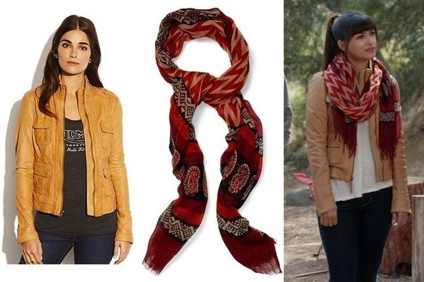Hannah Simone's Leather Jacket and Patterned Scarf on 'New Girl'
