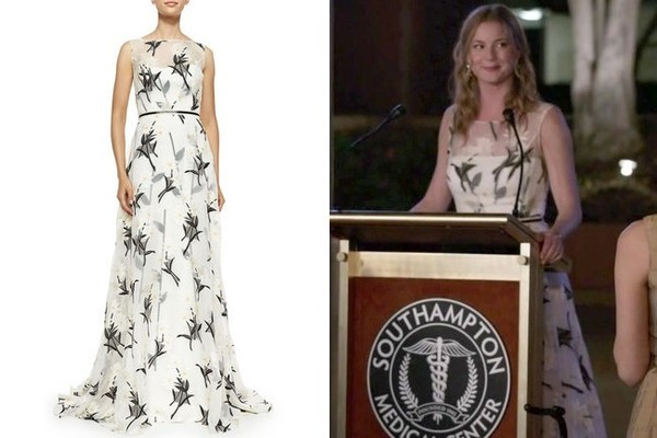 Emily VanCamp's White Dress with Sheer Floral-Print Overlay on 'Revenge'