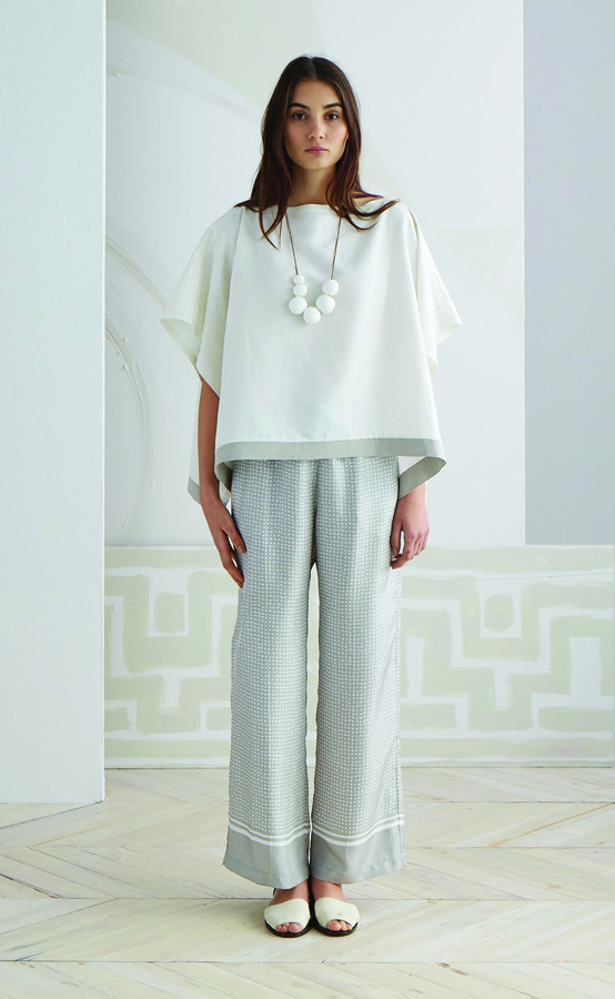 Serena & Lily Katherine Wide Leg Pant, $295; Ruthie Poncho, $195; and Bubble Necklace, $195
