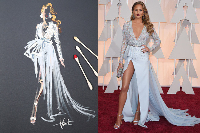 See 2015 Oscars Red Carpet Dresses As Gorgeous Sketches Celebrity Style Livingly