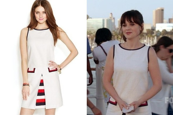 Zooey Deschanel's Striped Pleat Dress on 'New Girl'