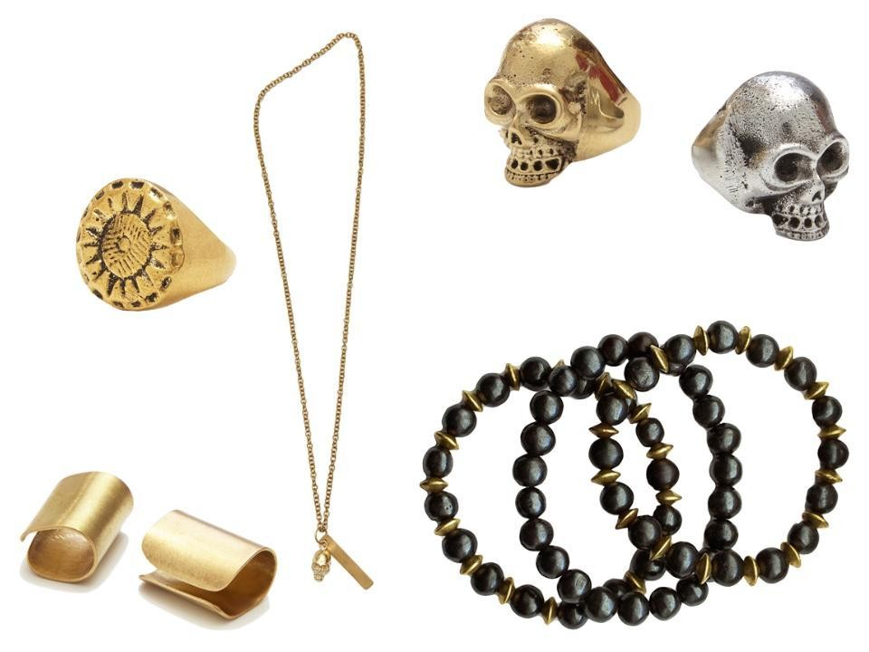 Clockwise: Angie Harmon x Red Earth Sunburst Ring, $78; Skull + Charm Necklace, $68; Skull Ring in Brass and Aluminum, $78 each; Bone + Brass Bracelets, $45; Brass Ear Cuff, $30; all at Red Earth