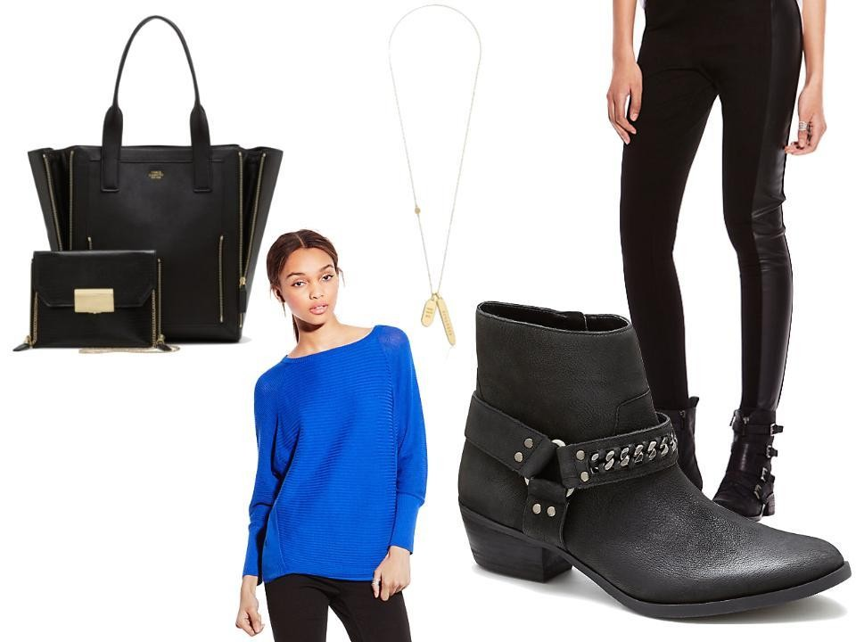 Vince Camuto Rhea Tote With Convertible Zip Pouch in Black, $358, at Macy's; Meet Me in NYC Tag Pendant Necklace, $68, at amazon.com; Faux Leather Legging, $69, at Vince Camuto; Tatumm Low Bootie, $159, at Vince Camuto; and Saturday Sweater, $89, at Vince Camuto