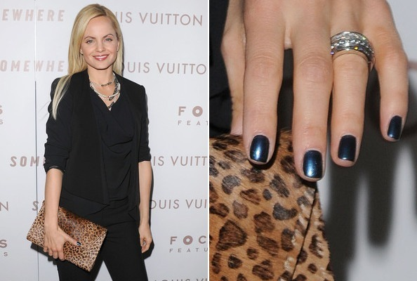 Mena Suvari Wears Midnight Blue Metallic
