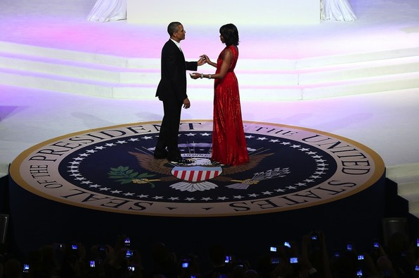 Michelle Obama Wears a Red Gown by Designer Jason Wu to the 2013 Inaugural Ball