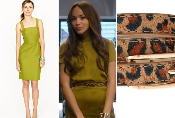 Ashley Madekwe's Olive Sheath and Print Belt on 'Revenge'