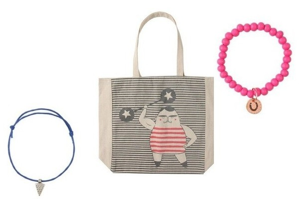 Cotton On Foundation Cotton Charming Bracelet, $1; Strong Man Tote, $2; Change Bracelet, $2; at Cotton On