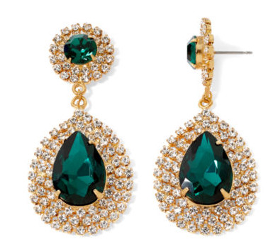 Vieste Green Stone Gold-Tone Drop Earrings, $28, at JCPenney