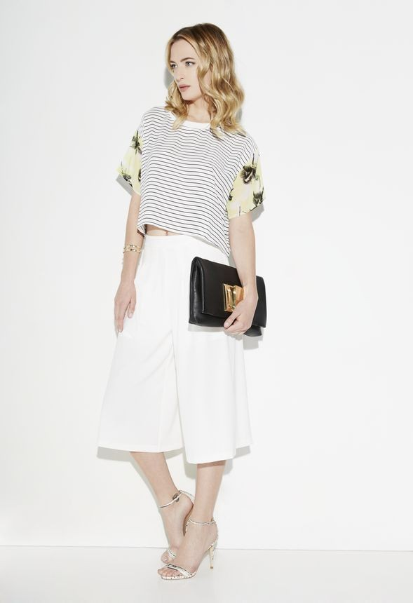 JustFab Striped Floral Sleeve Top, $44; and Chic Culotte, $39