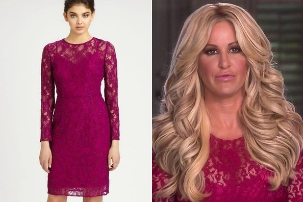 A Fuchsia Lace Long-Sleeve Dress Like Kim Zolciak's on 'Don't Be Tardy'