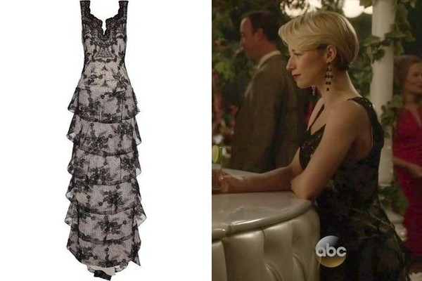Karine Vanasse's Black Tiered Lace Gown on 'Revenge'