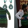 Mindy Kaling's Green Chevron Dress and Gemstone Drop Earrings on 'The Mindy Project'