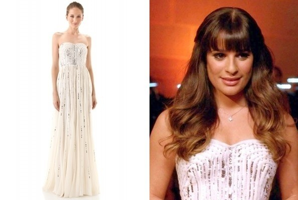 Lea Michele's Strapless Gown on 'Glee'