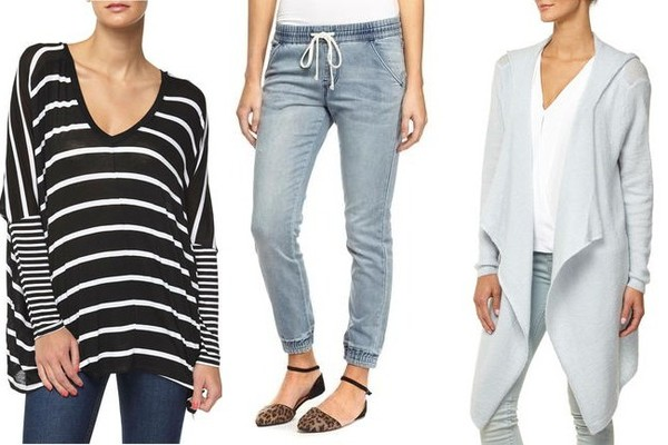 Cotton OnEssi Longsleeve Top, $20; Deluxe Sporty Jean, $40; Soft Luxe Hooded Cardi, $40; atCotton On