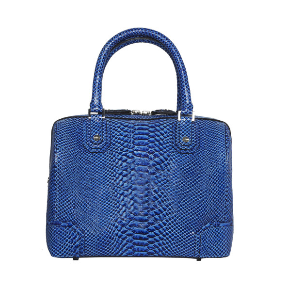 Olivia Bag in Blue Snakeskin