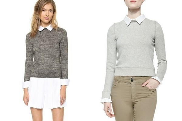 Alice + Olivia Fitted Collar Sweater in Black/Heather Grey, $297, at shopbop.com (also available at Saks Fifth Avenue); Alice + Olivia Combo Blouse/Sweatshirt Knit Pullover in Heather Grey/White, $330, at Neiman Marcus