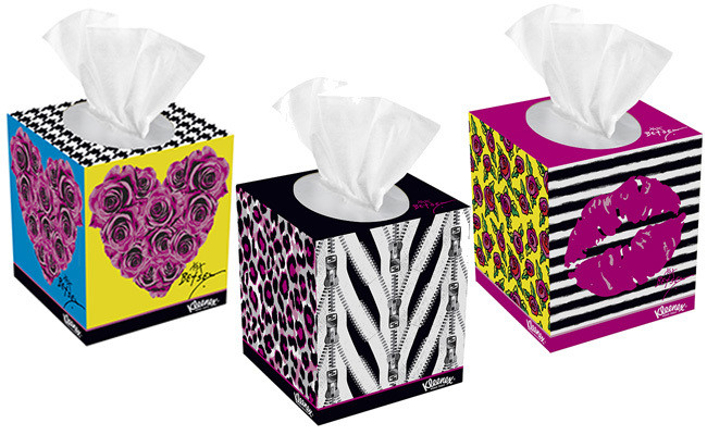(Kleenex Expressions Betsey Johnson in I Heart Betsey Johnson, Zip It and Kiss Me, $4 each)