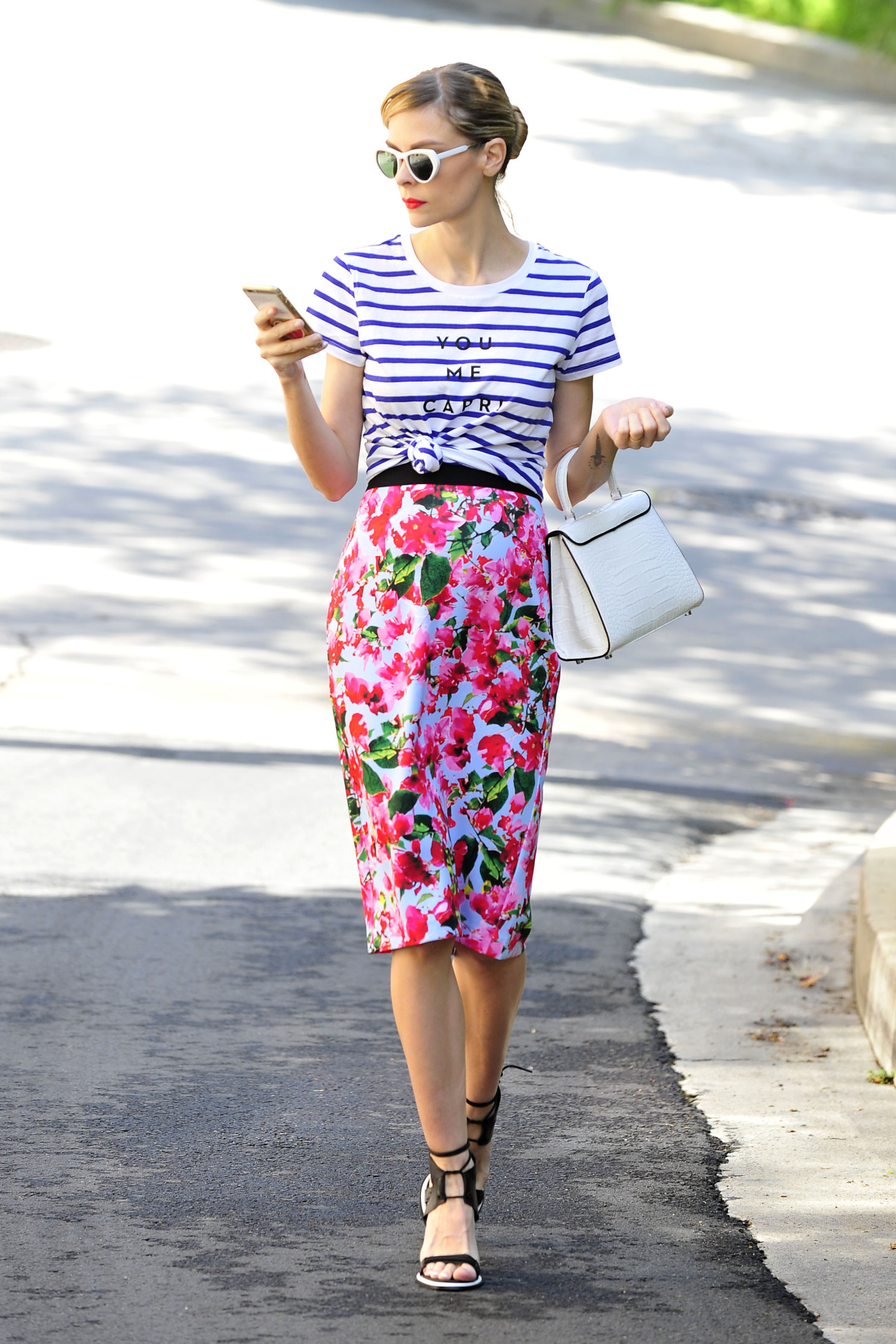MILLY for DesigNation You Me Capri Striped Tee, $40; and Bougainvillea Skirt, $50; at Kohl's