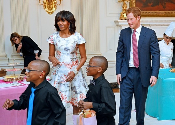 Michelle Obama Had a Tea Party with Prince Harry, Wore Prabal