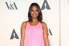 Pregnant Zoe Saldana Looks Pretty in Pink