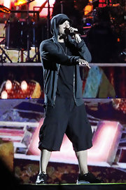 Eminem wore a black zip-up hoodie performing as a headline act at Coachella 2012.
