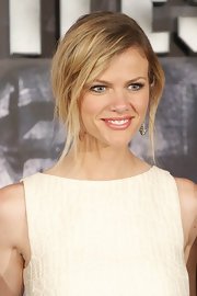 Brooklyn Decker wore her blond locks in a casual updo with long face-framing layers to the Spanish premiere of 'Battleship.'