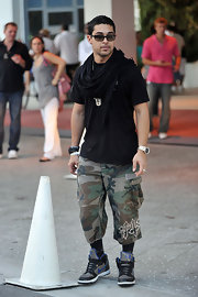 Wilmer Valderrama was seen leaving the W Hotel wearing a pair of camouflage shorts.