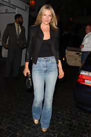 Ali sported a black leather jacket to add a sleek touch to her look.