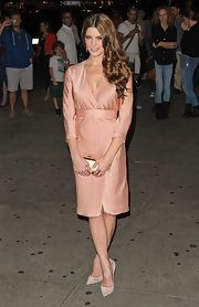 Ashley Greene stuck to her soft color scheme with these suede nude pointy-toe pumps.