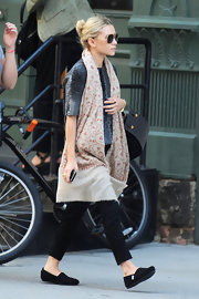 Ashley Olsen opted for comfort when she checked out a new apartment in New York City wearing a pair of soft black slip-on flats.