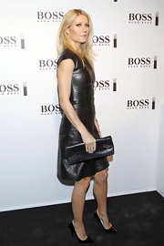 Gwyneth was a fashion daredevil in leather-on-leather at the Hugo Boss photo call in Madrid.