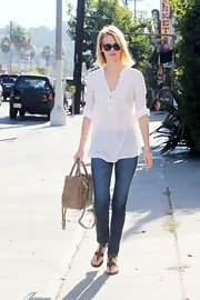 January Jones looked like a breezy bohemian beauty on the 2012 Presidential Election Day.