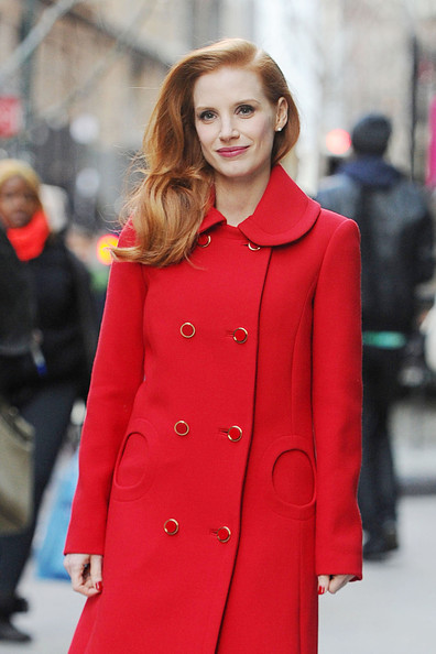 Actress Jessica Chastain stuns in red as she goes for a walk in New York City