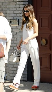 Kate Beckinsale stepped out in an all-white ensemble completed with a pair of multi-colored wedges.