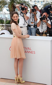 Marion Cotillard was spotted at the Cannes Film Festival sporting cheerful yellow slingbacks.