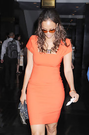 Tyra Banks stepped out in a fitted orange sheath dress while out in NYC.