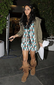 Vanessa Hudgens was spotted running errands while wearing a cozy-looking pair of fringed sheepskin boots.