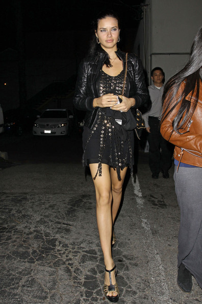 Adriana Lima Steps Out In A Studded Cocktail Dress