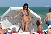 Venezuelan model Aida Yespica hit Miami beach in a colorful bandeau bikini.